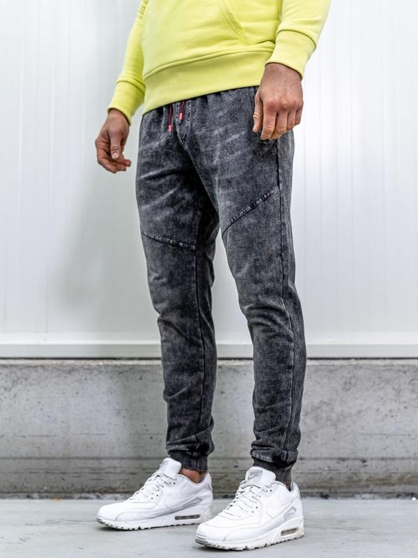 Брюки джоггеры мужские джинсовые черные Bolf kk1055