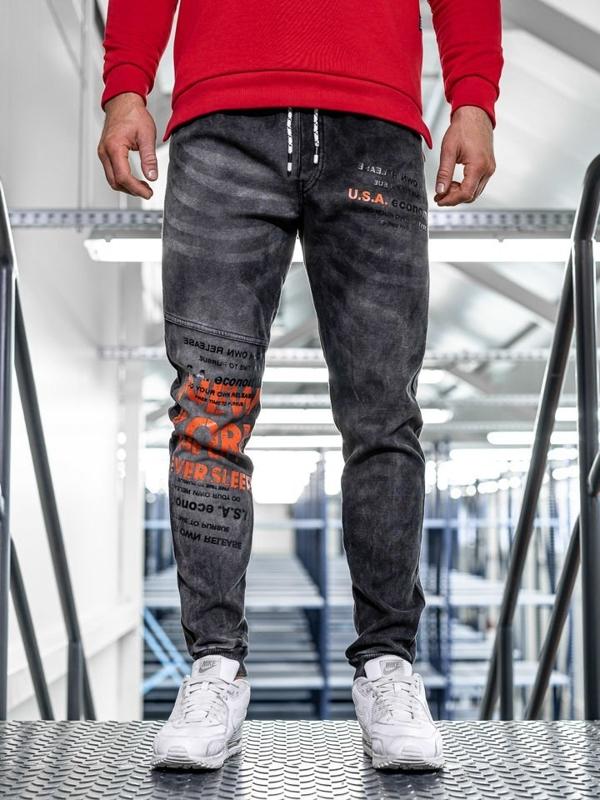 Брюки джоггеры мужские джинсовые черные Bolf kk1069