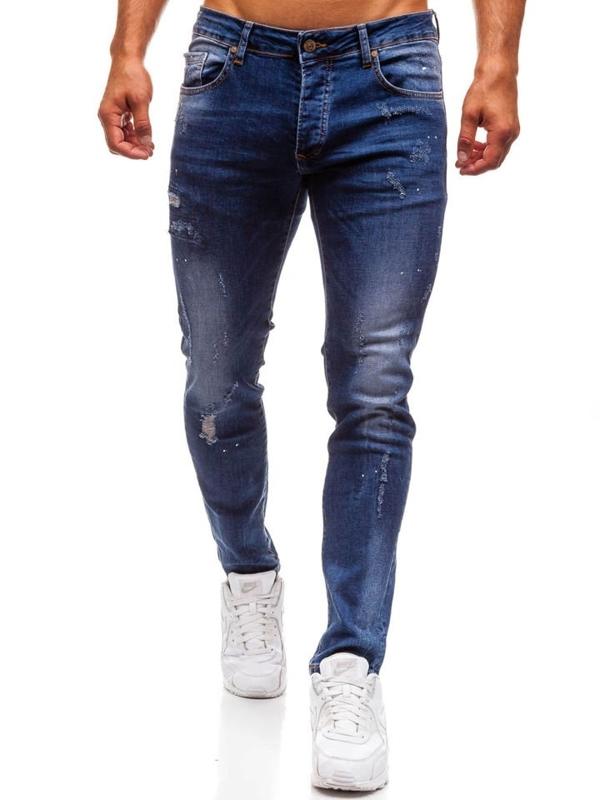 Джинсы мужские slim fit темно-синие Bolf 8023