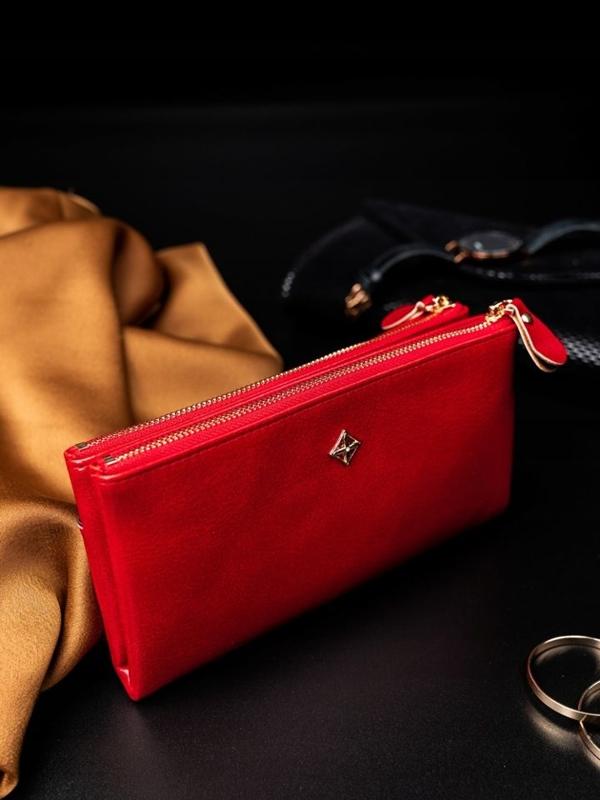 Женский кошелек с эко кожи красный 1826