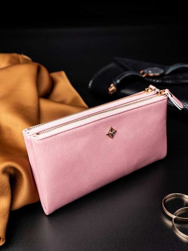 Женский кошелек с эко кожи розовый 1820