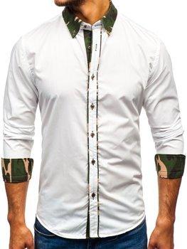 Камуфляж-белая элегантная мужская рубашка с длинным рукавом Bolf 6876