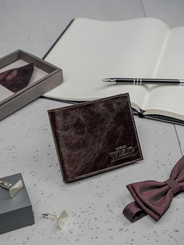 Кошелек мужской кожаный темно-коричневый 3189