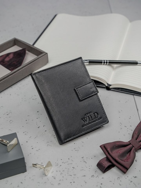 Кошелек мужской кожаный черный 3149