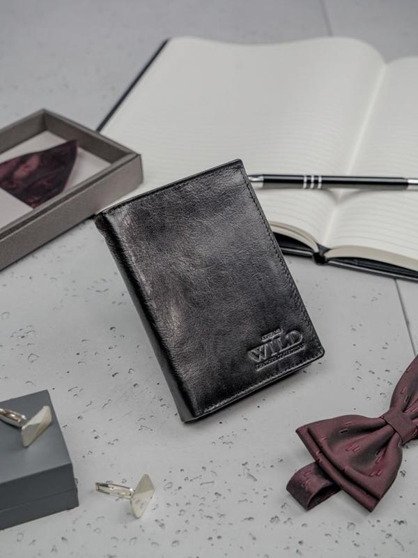 Кошелек мужской кожаный черный 3195