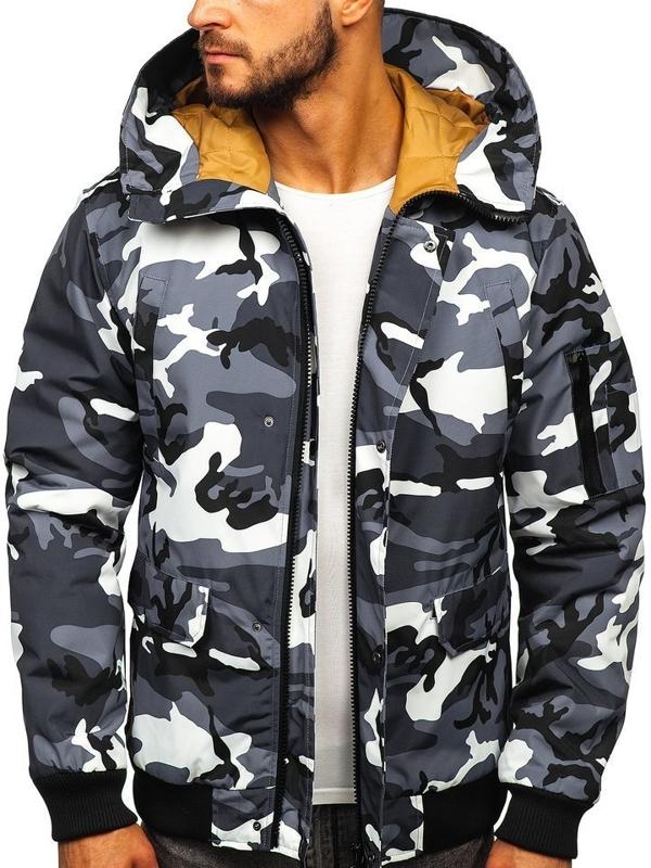 Куртка мужская демисезонная камуфляж-графитовая Bolf 2019005M