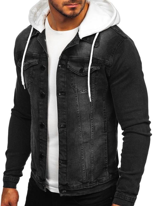 Куртка мужская джинсовая с капюшоном черная Bolf 605
