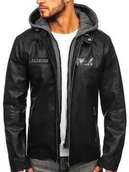 Куртка мужская кожаная с капюшоном черная Bolf 1127