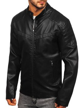 Куртка мужская кожаная черная Bolf 1128