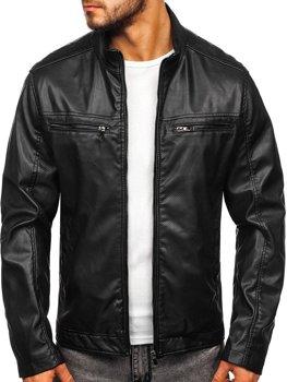 Куртка мужская кожаная черная Bolf 1131