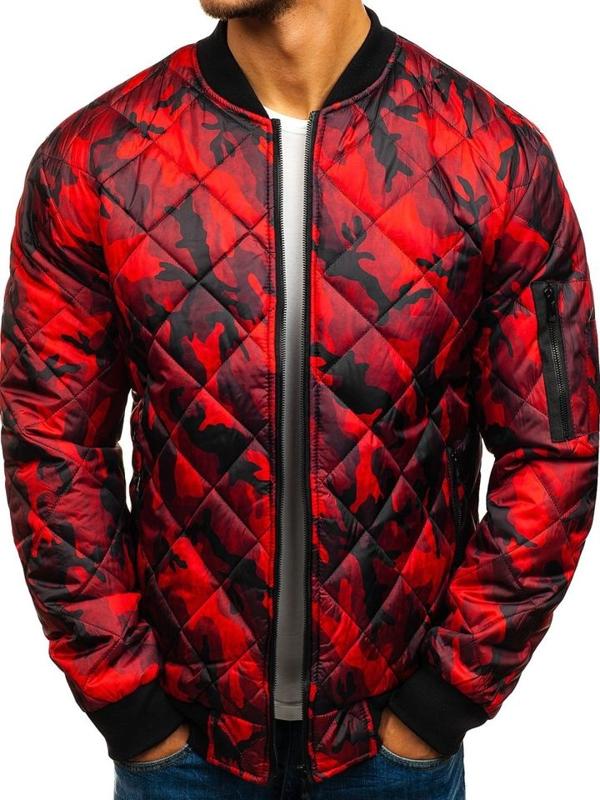 Мужская демисезонная куртка бомбер красная Bolf RZ09