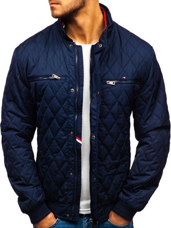Мужская демисезонная куртка элегантная темно-синяя Bolf 1906