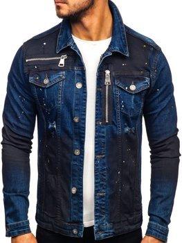 Мужская джинсовая куртка темно-синяя Bolf 5015