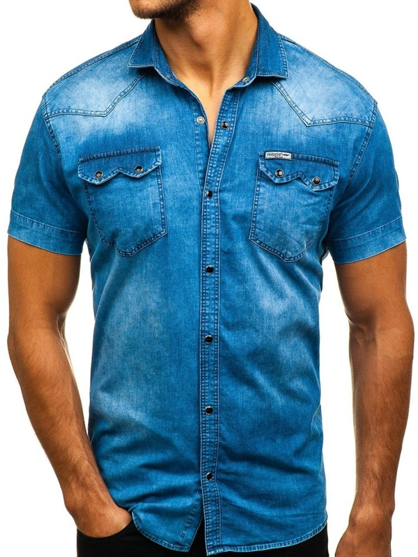 Мужская джинсовая рубашка с коротким рукавом синяя Bolf 2636