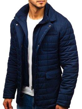 Мужская зимняя элегантная куртка темно-синяя Bolf EX201