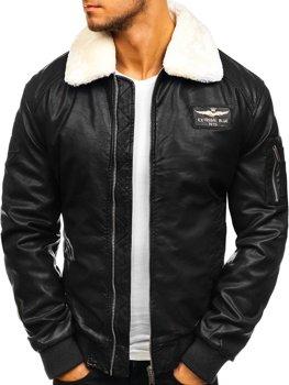 Мужская кожаная куртка пилот черная Bolf EX837