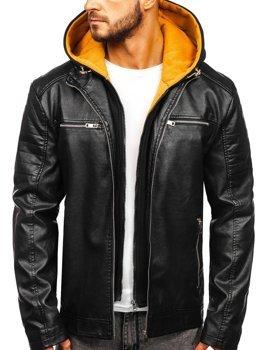 Мужская кожаная куртка с капюшоном черно-желтая Bolf 6131