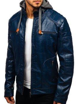 Мужская кожаная куртка темно-синяя Bolf ex707