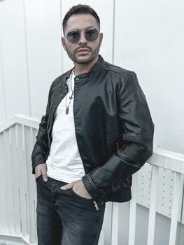 Мужская кожаная куртка черная Bolf 1073-A