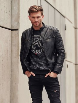 Мужская кожаная куртка черная Bolf 1113