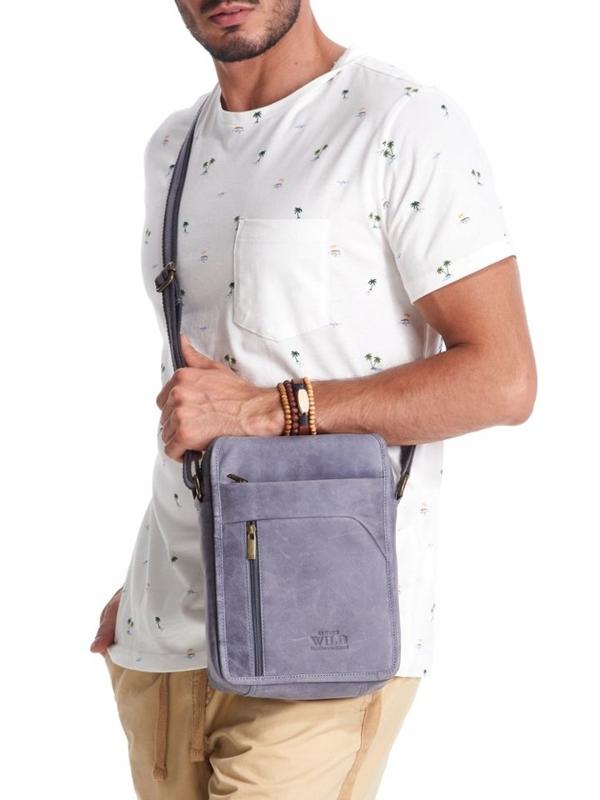 Мужская кожаная сумка темно-синяя 2452