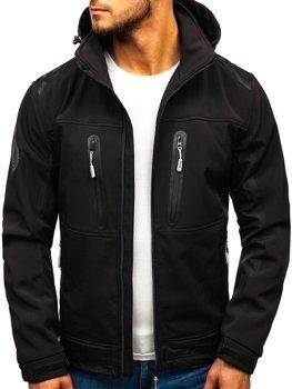 Мужская куртка софтшелл черная Bolf A6603