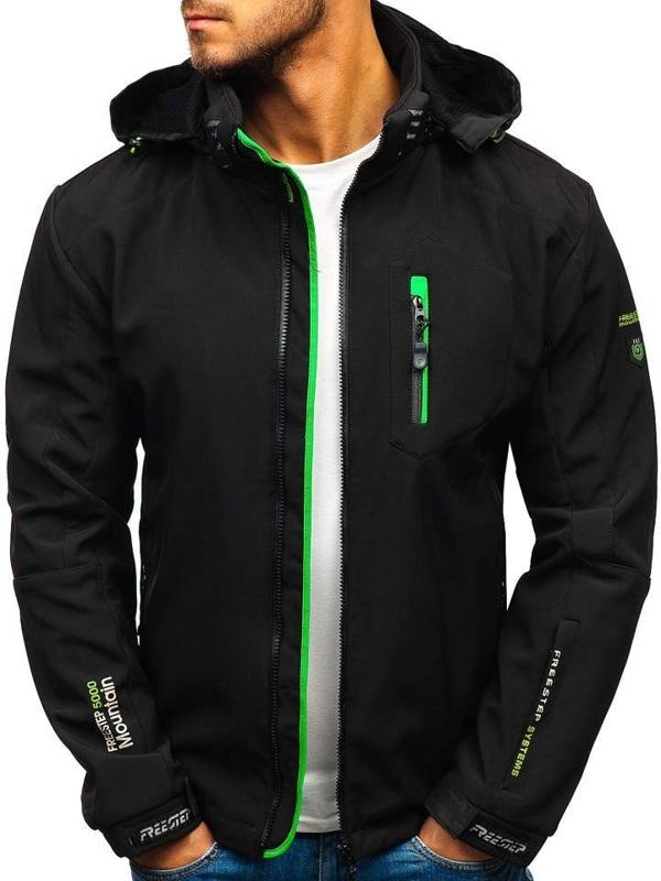 Мужская куртка софтшелл черно-зеленая Bolf P135-A
