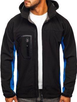 Мужская куртка софтшелл черно-синяя Bolf T019