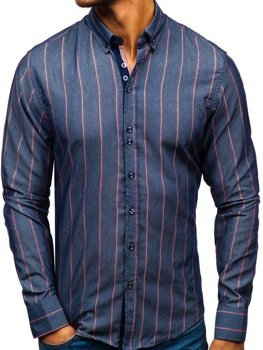 Мужская рубашка в полоску с длинным рукавом темно-синяя Bolf 8837
