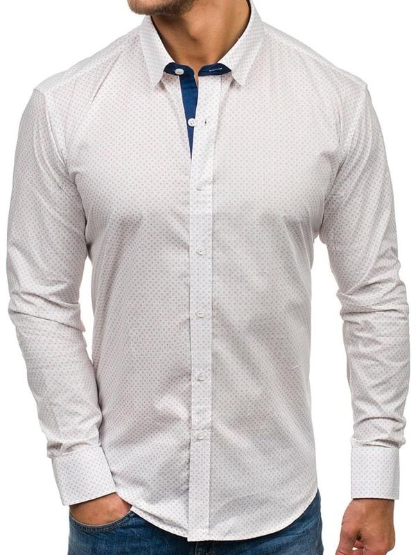 Мужская рубашка с узором с длинным рукавом белая Bolf GE1012