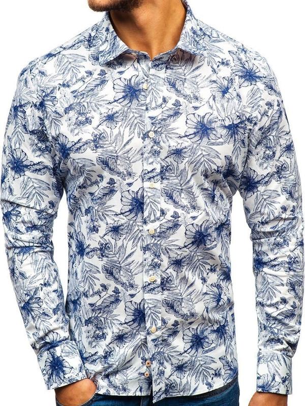 Мужская рубашка с узором с длинным рукавом бело-темно-синяя 301G66