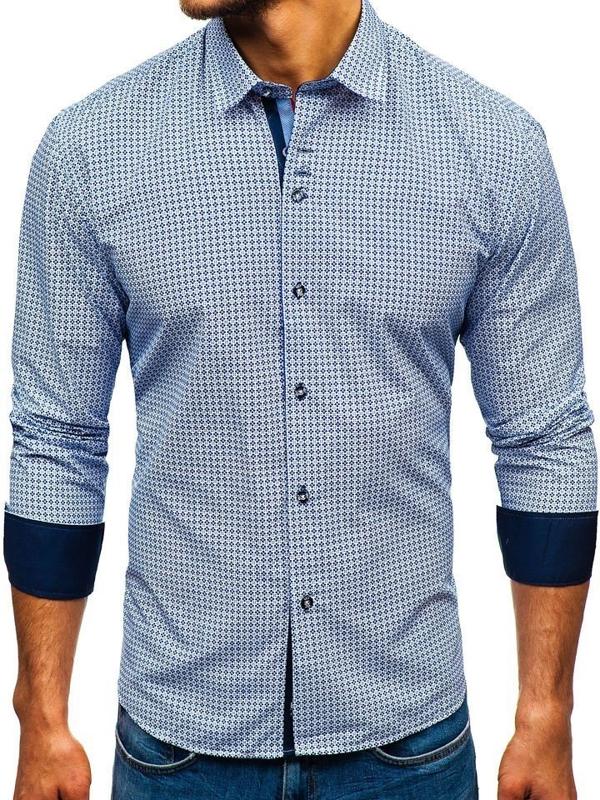 Мужская рубашка с узором с длинным рукавом бело-темно-синяя Bolf 9702