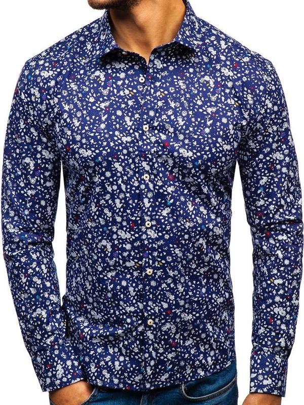 Мужская рубашка с узором с длинным рукавом темно-синяя 300G12