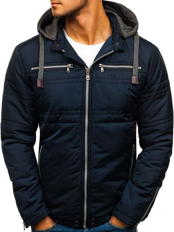 Мужская элегантная демисезонная куртка темно-синяя Bolf 1763