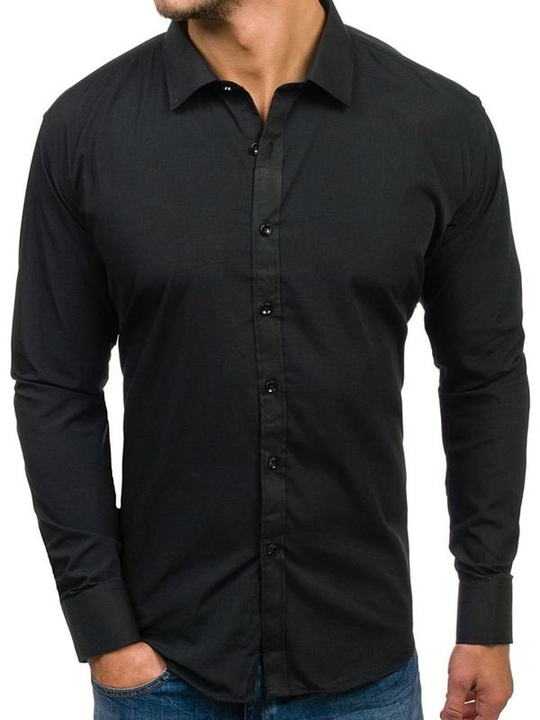 Мужская элегантная рубашка с длинным рукавом черная Bolf 001