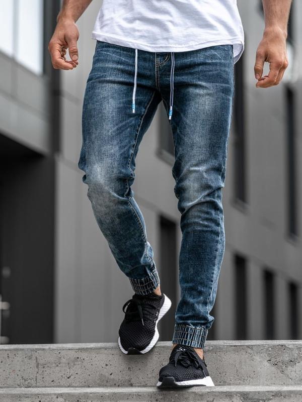 Мужские джинсовые брюки джоггеры темно-синие Denle KA680