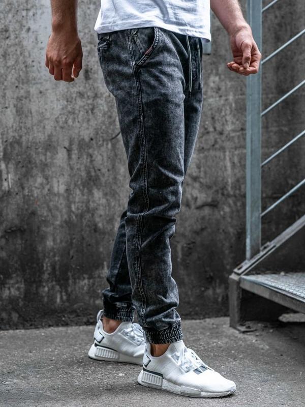 Мужские джинсовые брюки джоггеры черные Bolf  KA1007
