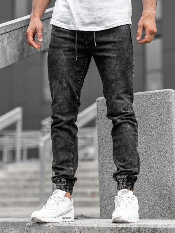 Мужские джинсовые брюки джоггеры черные Bolf  KA1082