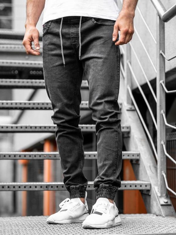 Мужские джинсовые брюки джоггеры черные Bolf  KA1101