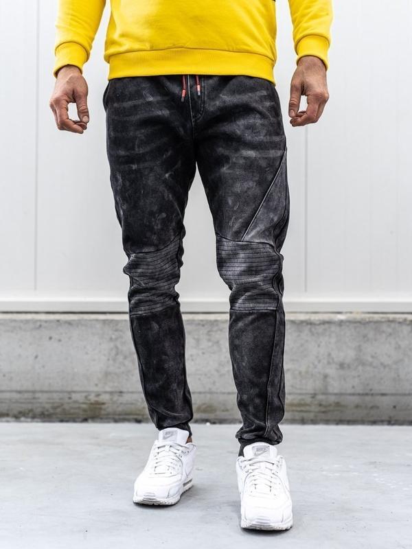 Мужские джинсовые брюки джоггеры черные Bolf KK1066