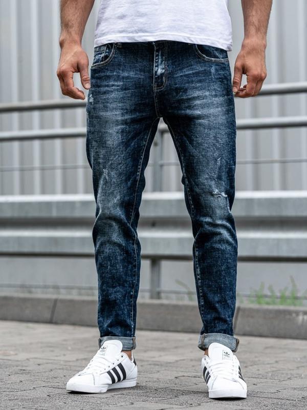 Мужские джинсовые брюки темно-синие Bolf KX269