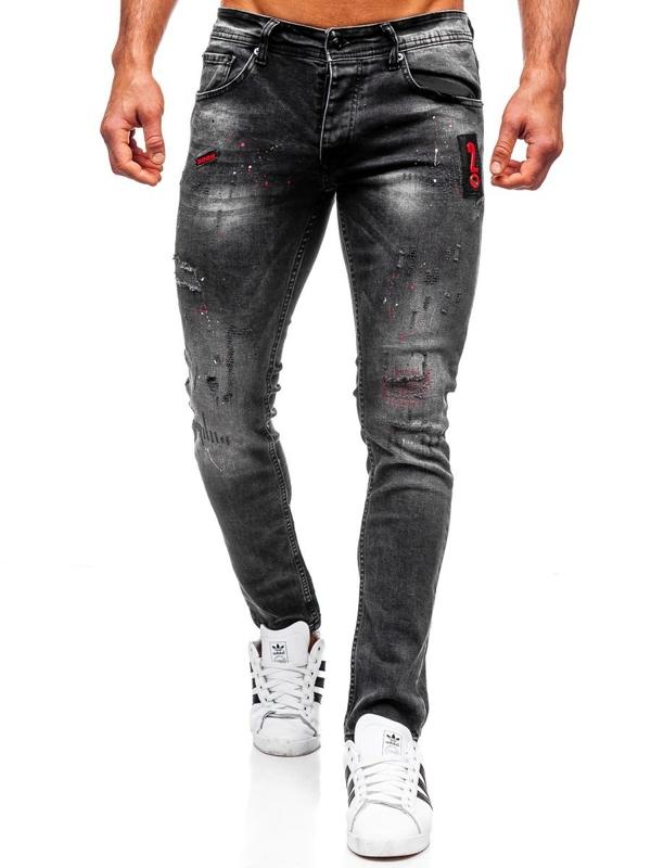 Мужские джинсовые брюки regular fit черные Bolf 4014