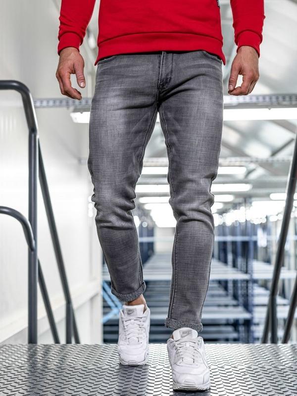 Мужские  джинсовые брюки slim fit черные Bolf KX308-5