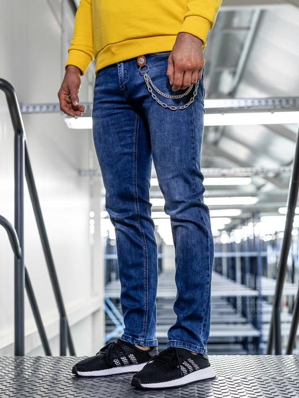 Мужские  джинсовые брюки straight leg темно-синие Bolf KA1261