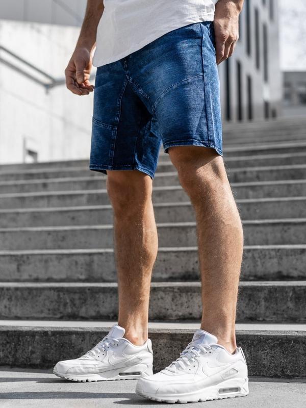 Мужские джинсовые шорты темно-синие Bolf KK107