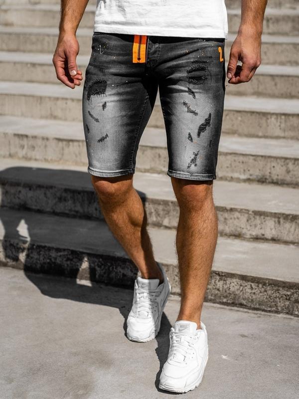 Мужские джинсовые шорты черные Bolf 3002