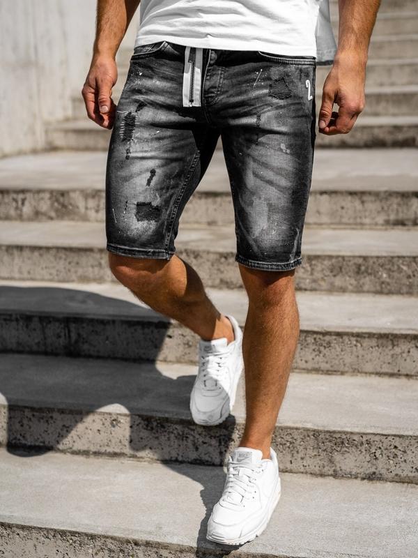Мужские джинсовые шорты черные Bolf 3003