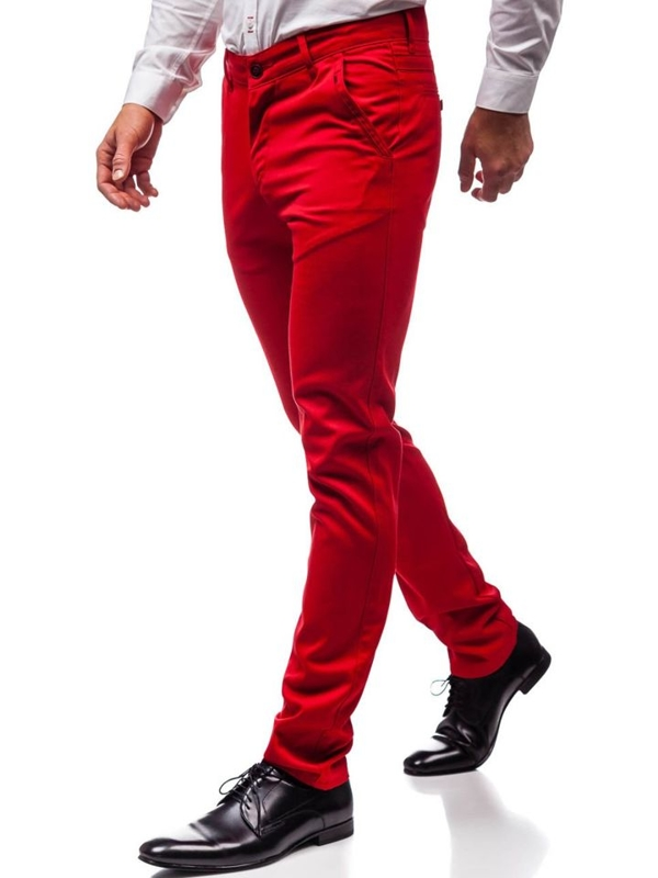 Мужские элегантные брюки красные Bolf 3166