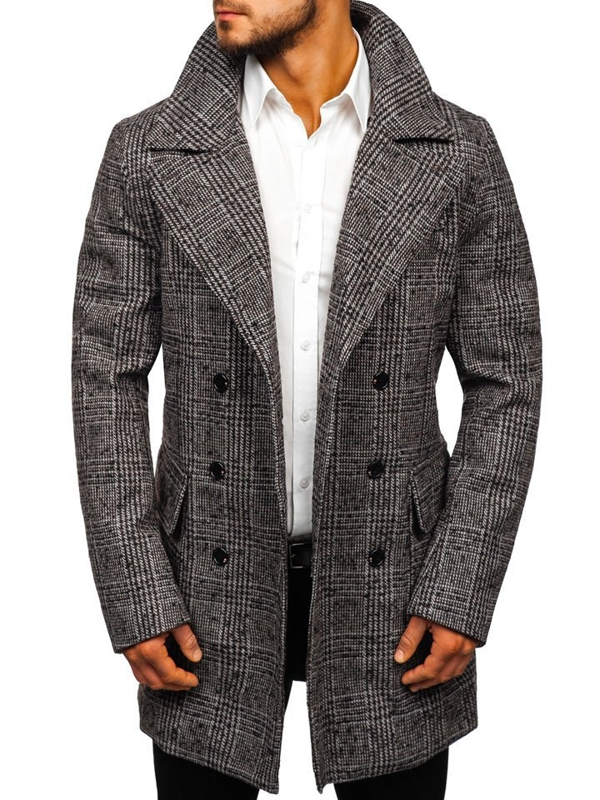 Мужское зимнее пальто серое Bolf 1118