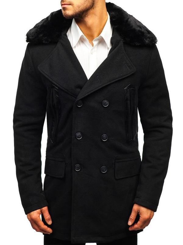 Мужское зимнее пальто черное Bolf 88872